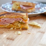 Grilled Ham, Cheese, Pickle, and Potato Chip Sandwich