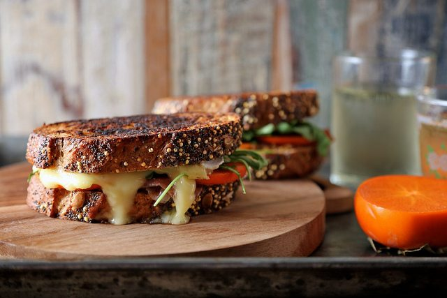 Persimmon Prosciutto and Brie Grilled Cheese