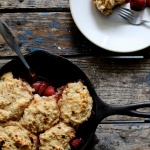 Roasted Strawberry and Dumpling Skillet Cake