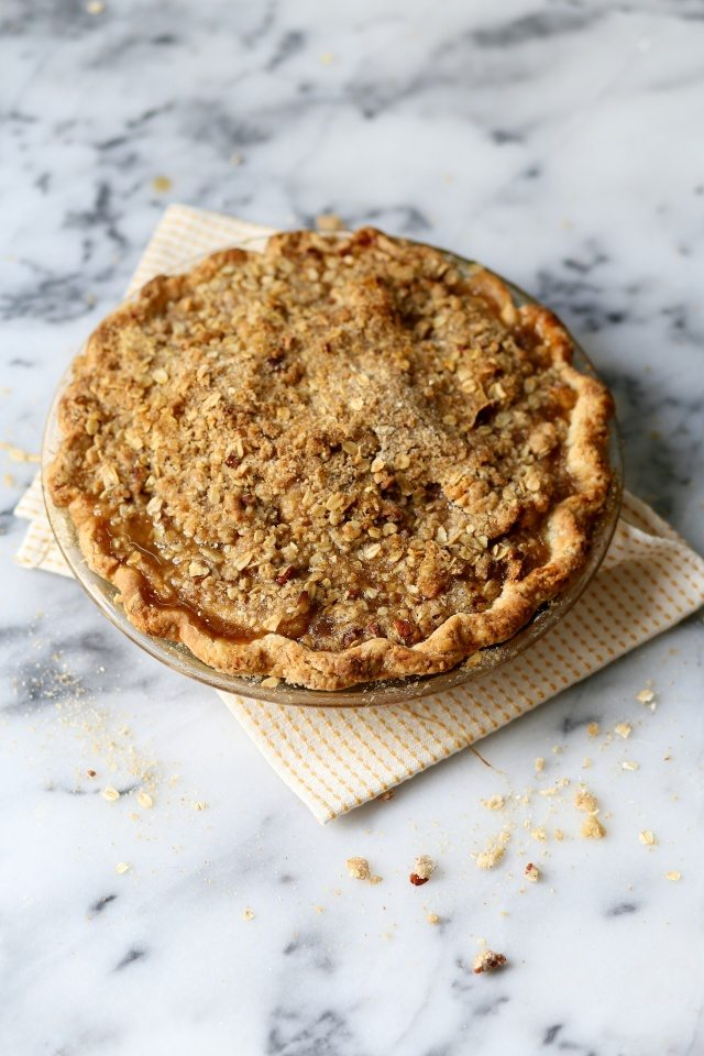Pear Bourbon Crumble Pie