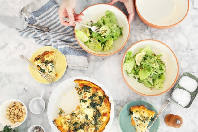 Sweet Potato, Sausage and Sage Quiche with Butter Lettuce Herb Salad