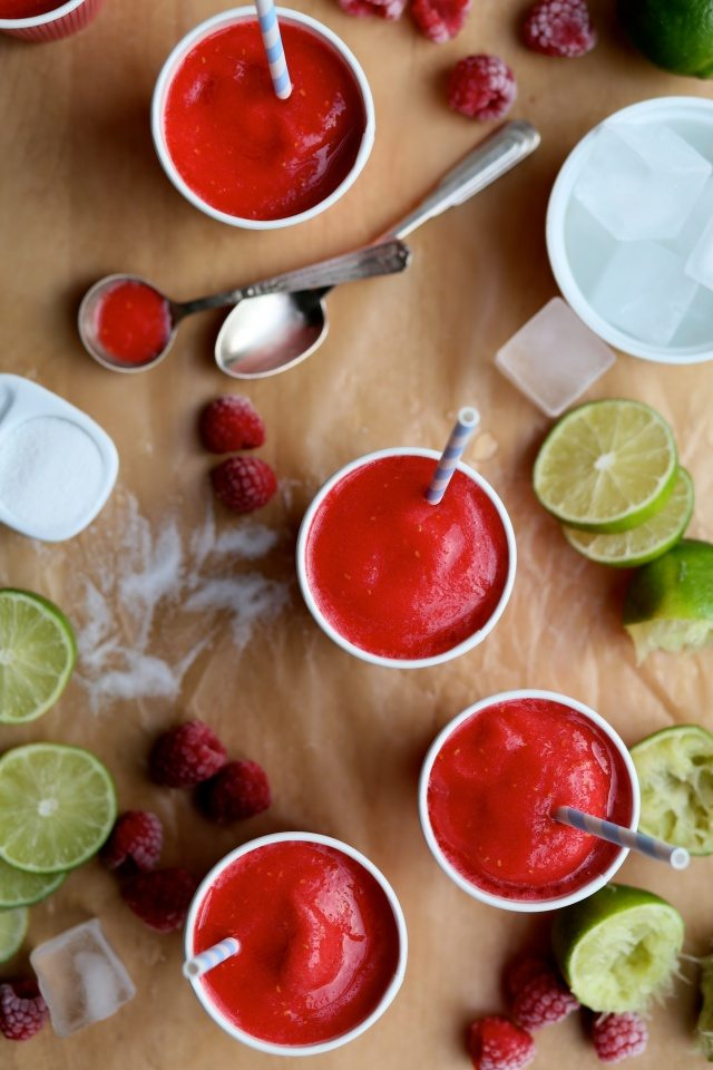 Fresh Raspberry and Gin Slushies