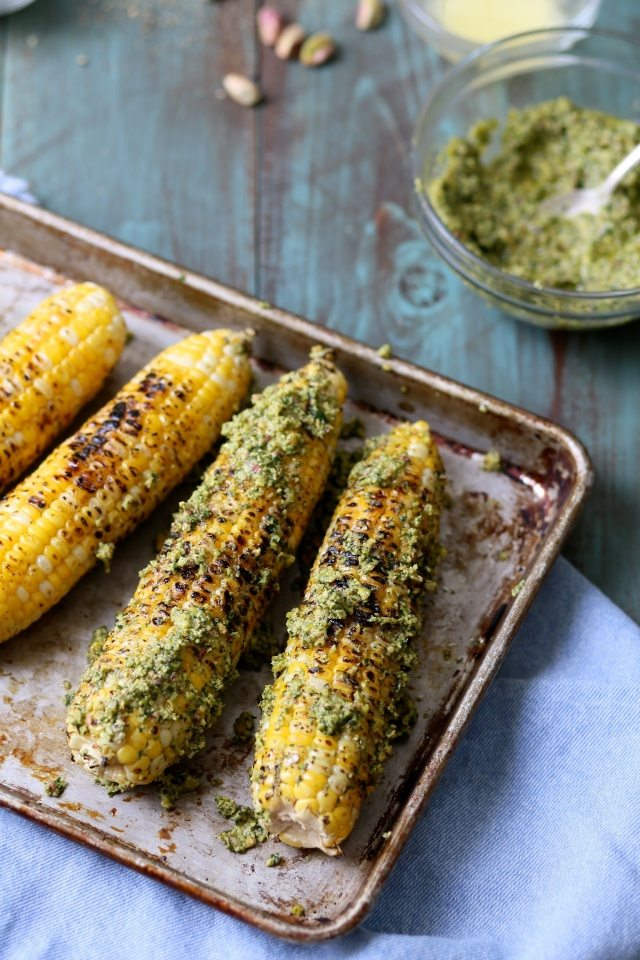 Charred Corn with Pistachio Cilantro Lime Rub