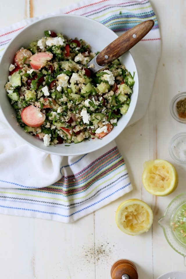 Red Grape and White Peach Tabbouleh Salad