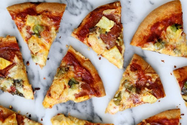 Pepperoni, Pineapple, and Hatch Chile Pizza