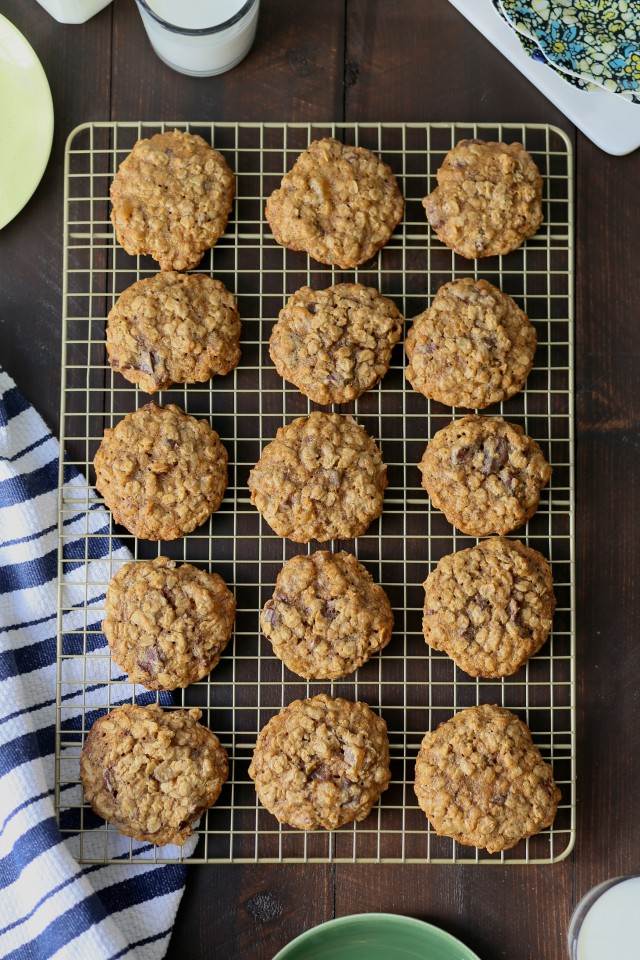 Classic Oatmeal Cookies with dark chocolate and ginger