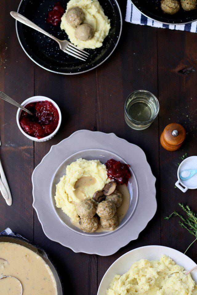 Vegetarian Swedish Meatballs with mushroom gravy