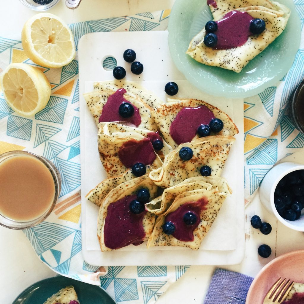 Lemon Poppy Seed Crepes with Blueberry Curd