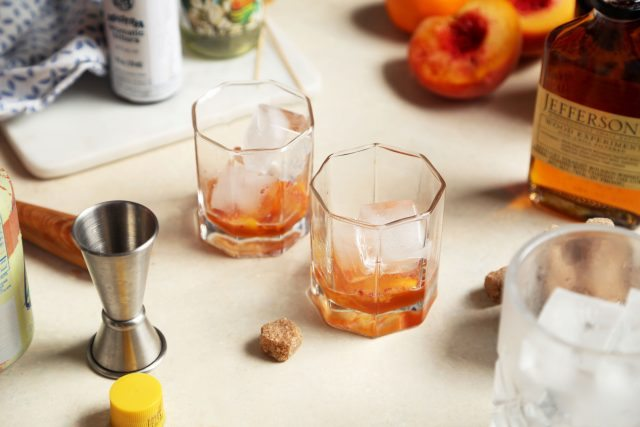 Peach and Orange Flower Old Fashioned