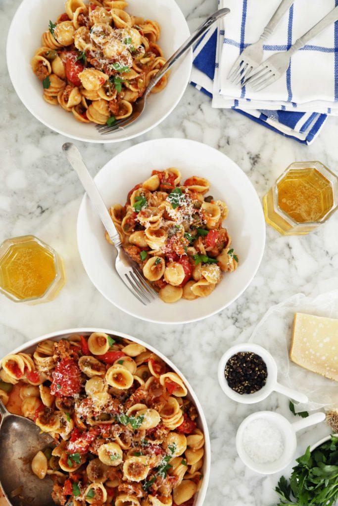 Very Versatile Orecchiette Pasta with Sausage + Parmesan