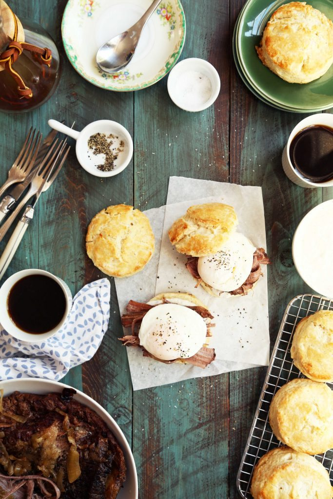Brisket Breakfast Biscuits with poached egg and horseradish sauce