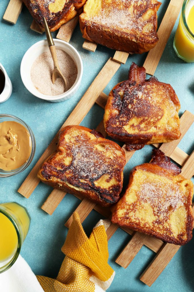 Peanut Butter Bacon And Banana French Toast Sandwiches Joy The Baker