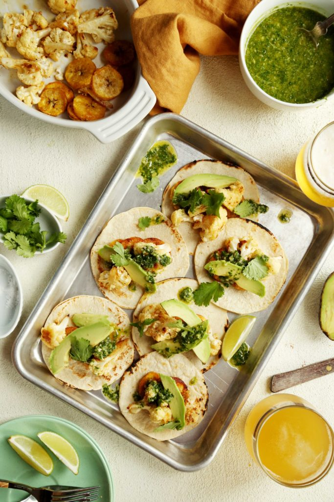 Roasted Cauliflower and Plantain Tacos