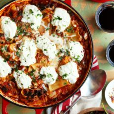 Easy lasagna recipe baked in a skillet topped with ricotta